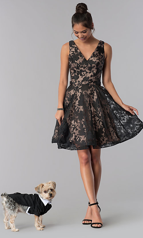 Image of short black a-line floral-print homecoming dress. Style: TE-3011 Detail Image 3