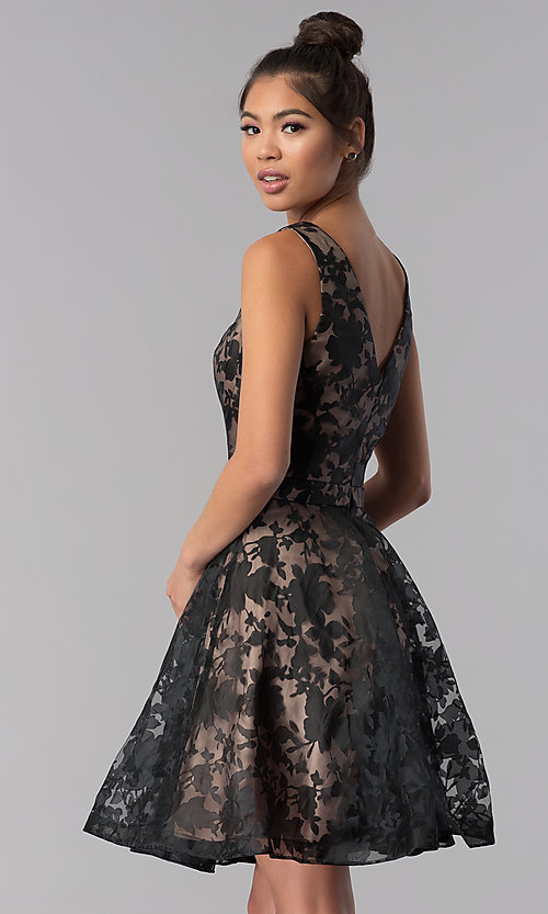Image of short black a-line floral-print homecoming dress. Style: TE-3011 Back Image