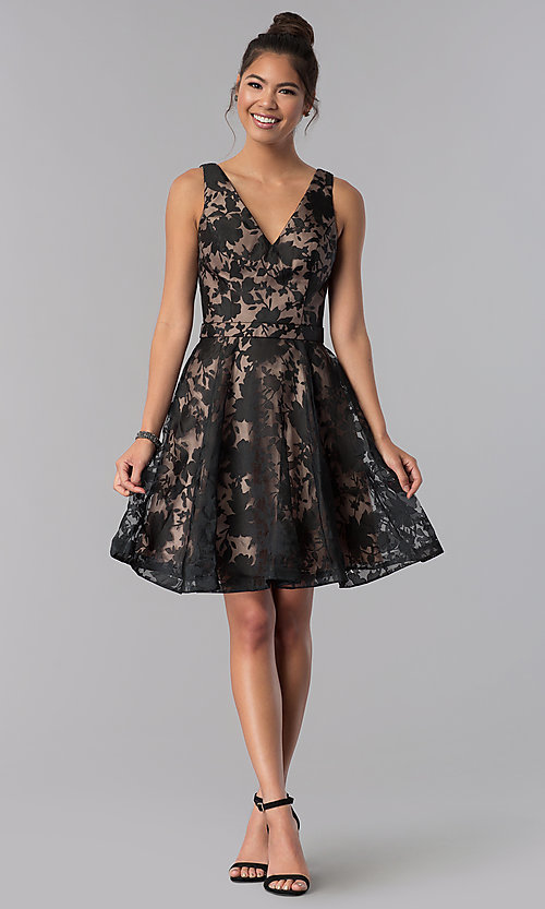 Image of short black a-line floral-print homecoming dress. Style: TE-3011 Detail Image 2