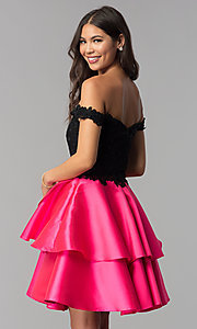 Image of off-the-shoulder short tiered-skirt homecoming dress. Style: TE-T3026 Back Image