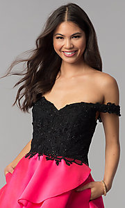 Image of off-the-shoulder short tiered-skirt homecoming dress. Style: TE-T3026 Detail Image 1