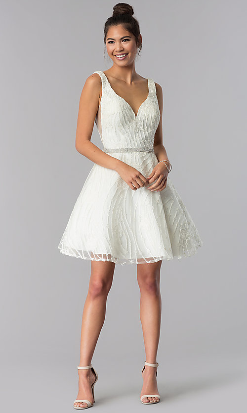Image of v-neck short ivory embroidered homecoming dress. Style: TE-3086 Detail Image 2