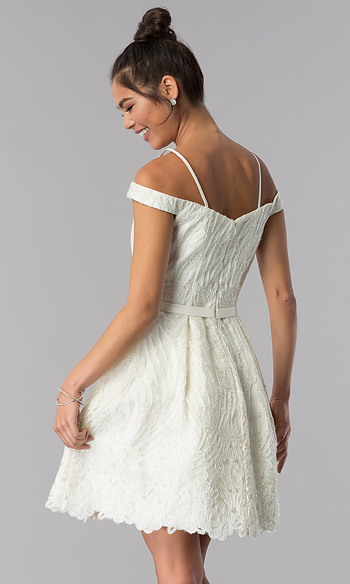Image of sweetheart short ivory embroidered homecoming dress. Style: TE-T3090 Back Image