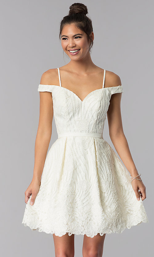 Image of sweetheart short ivory embroidered homecoming dress. Style: TE-T3090 Front Image