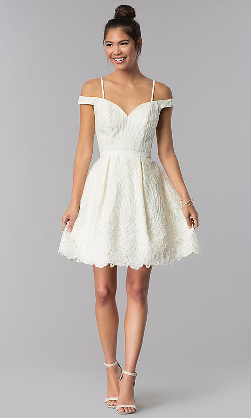 Image of sweetheart short ivory embroidered homecoming dress. Style: TE-T3090 Detail Image 2