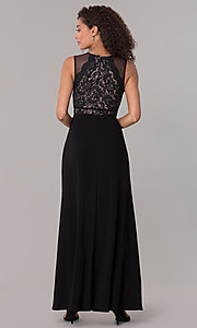 Image of long formal black MOB lace-bodice dress. Style: MO-12528A Back Image