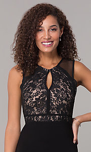 Image of long formal black MOB lace-bodice dress. Style: MO-12528A Detail Image 1