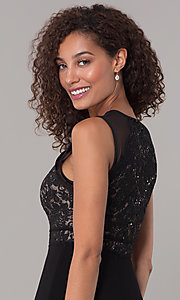Image of long formal black MOB lace-bodice dress. Style: MO-12528A Detail Image 2