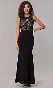 Image of long formal black MOB lace-bodice dress. Style: MO-12528A Detail Image 3