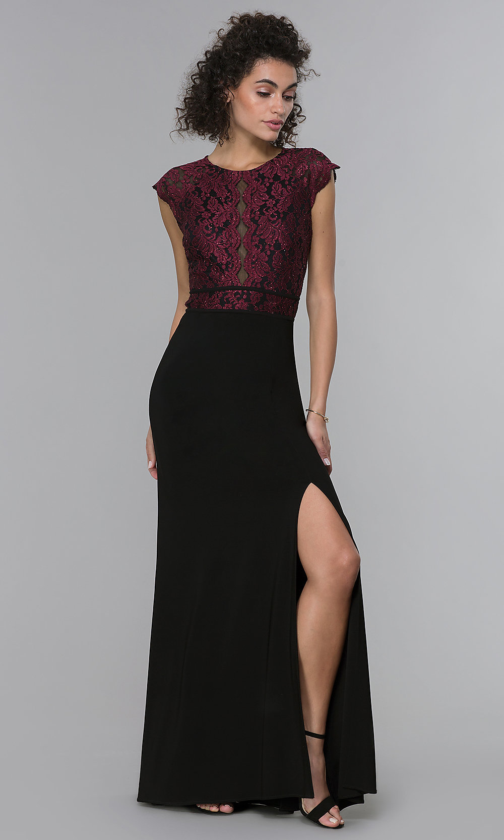Long Lace-Bodice Formal MOB Dress - PromGirl
