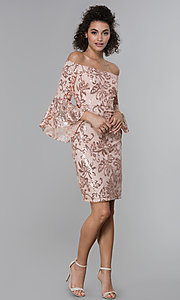 Image of sleeved sequin-lace short MOB dress in rose gold. Style: MO-12540 Detail Image 3