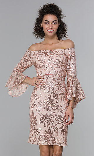 Sleeved Sequin-Lace Short MOB Dress in Rose Gold