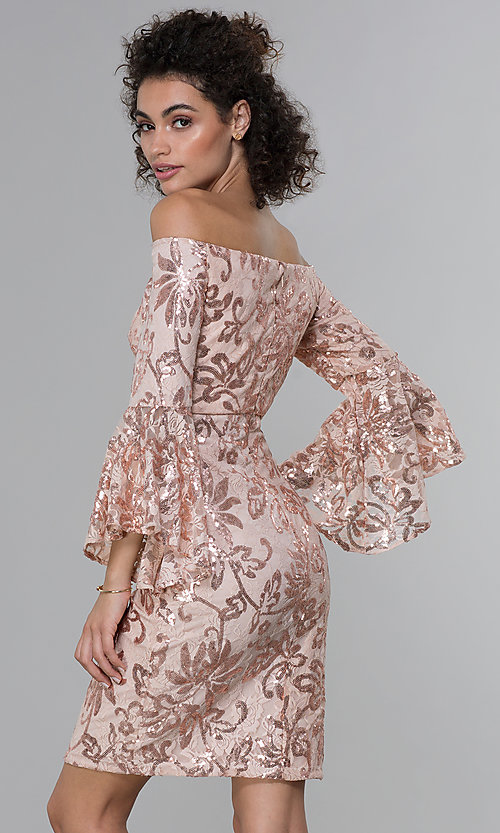 Image of sleeved sequin-lace short MOB dress in rose gold. Style: MO-12540 Back Image