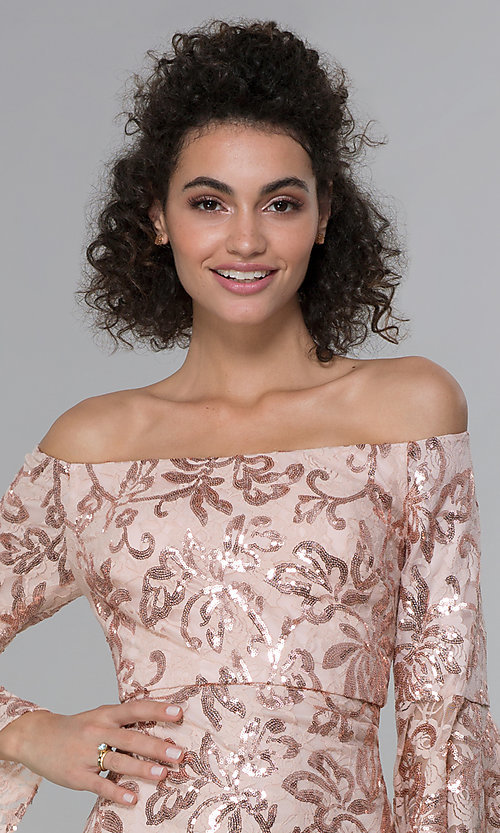 Image of sleeved sequin-lace short MOB dress in rose gold. Style: MO-12540 Detail Image 1