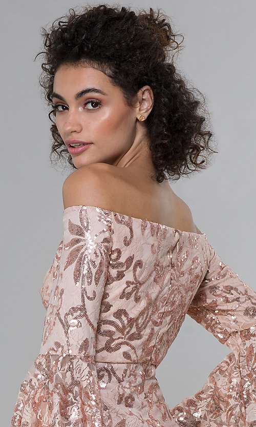 Image of sleeved sequin-lace short MOB dress in rose gold. Style: MO-12540 Detail Image 2