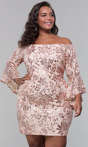 Image of short wedding-guest plus-size party dress. Style: MO-12540WM Front Image