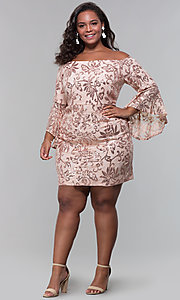 Image of short wedding-guest plus-size party dress. Style: MO-12540WM Detail Image 3