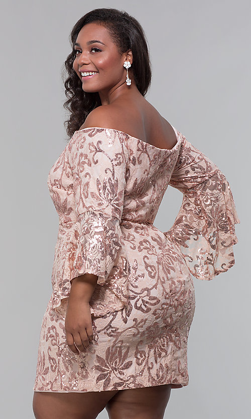 Image of short wedding-guest plus-size party dress. Style: MO-12540WM Back Image