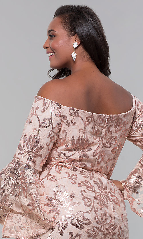 Image of short wedding-guest plus-size party dress. Style: MO-12540WM Detail Image 2