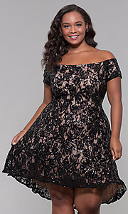 Image of high-low off-shoulder wedding guest plus-size dress. Style: MO-12541WM Detail Image 3