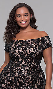 Image of high-low off-shoulder wedding guest plus-size dress. Style: MO-12541WM Detail Image 5