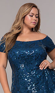 Image of high-low off-shoulder wedding guest plus-size dress. Style: MO-12541WM Detail Image 1