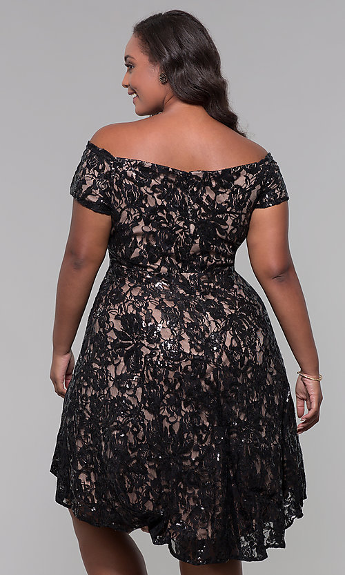 Image of high-low off-shoulder wedding guest plus-size dress. Style: MO-12541WM Detail Image 4