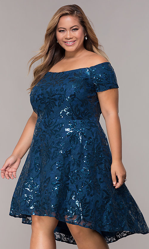 50947dff6a0 Image of high-low off-shoulder wedding guest plus-size dress. Style