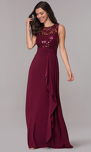 Long Sequin-Lace-Bodice MOB Sleeveless Dress