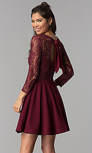 Image of sleeved garnet red lace-bodice homecoming dress. Style: BD-Q72CK170 Back Image