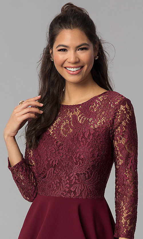 Image of sleeved garnet red lace-bodice homecoming dress. Style: BD-Q72CK170 Detail Image 1