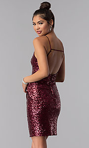 Image of short faux-wrap sequin homecoming dress. Style: BD-Q451L464 Back Image