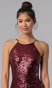 Image of short faux-wrap sequin homecoming dress. Style: BD-Q451L464 Detail Image 1