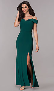 Image of off-the-shoulder formal long wedding-guest dress. Style: MO-12343 Front Image