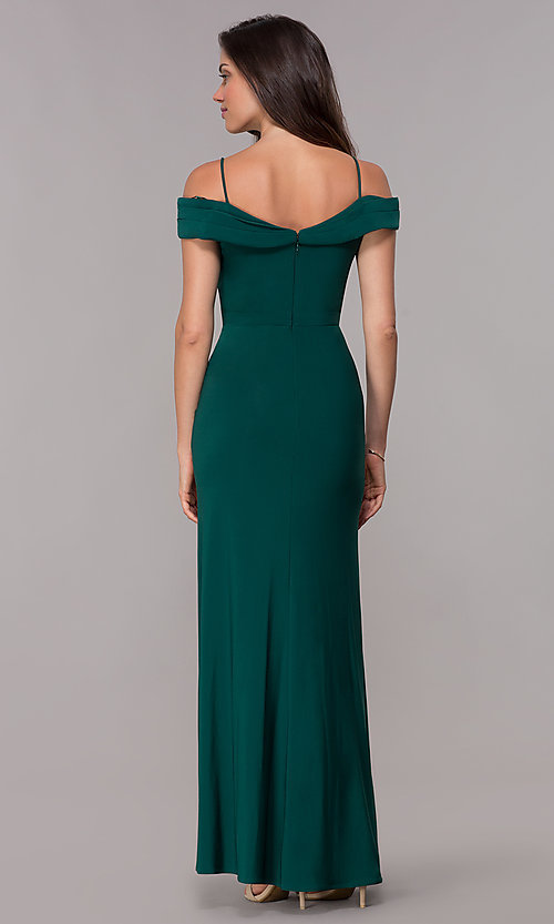 Image of off-the-shoulder formal long wedding-guest dress. Style: MO-12343 Back Image