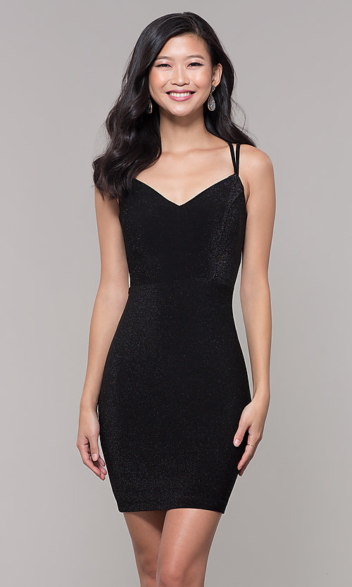 Image of short v-neck black glitter holiday dress. Style: MO-12564 Front Image