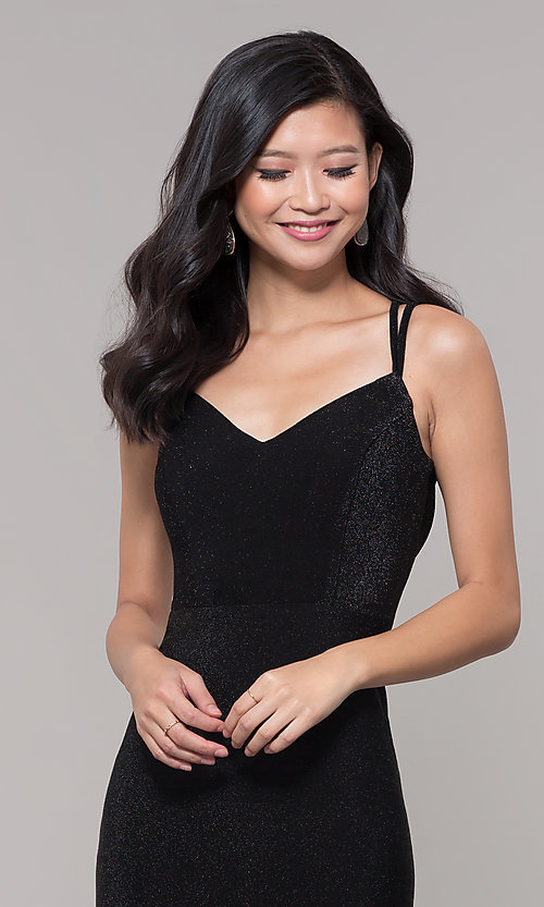 Image of short v-neck black glitter holiday dress. Style: MO-12564 Detail Image 1