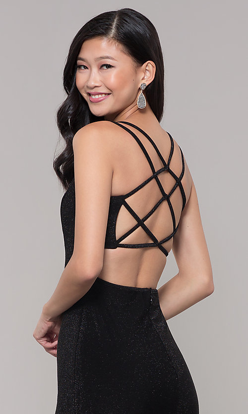 Image of short v-neck black glitter holiday dress. Style: MO-12564 Detail Image 2