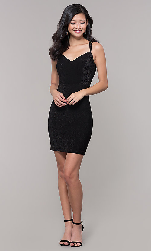 Image of short v-neck black glitter holiday dress. Style: MO-12564 Detail Image 3