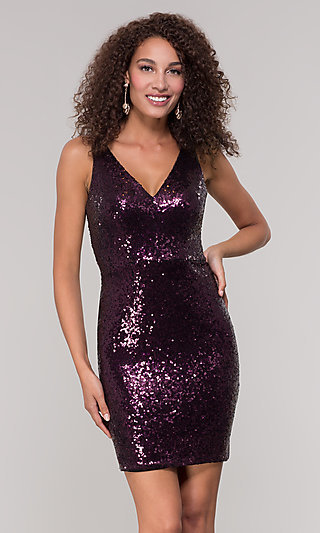 Short Sequin V-Neck Wedding-Guest Dress