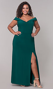 Image of plus-size long wedding guest dress with slit. Style: MO-12343WMM Detail Image 3