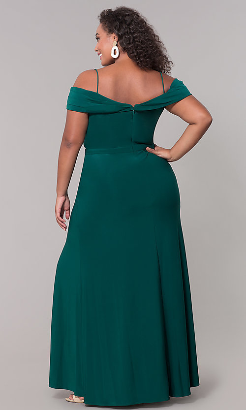 Image of plus-size long wedding guest dress with slit. Style: MO-12343WMM Detail Image 4