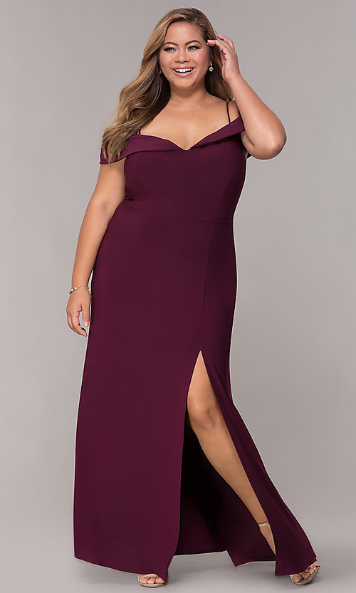 Image of plus-size long wedding guest dress with slit. Style: MO-12343WMM Front Image