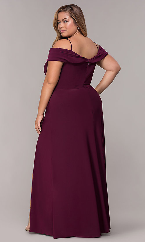 Image of plus-size long wedding guest dress with slit. Style: MO-12343WMM Back Image