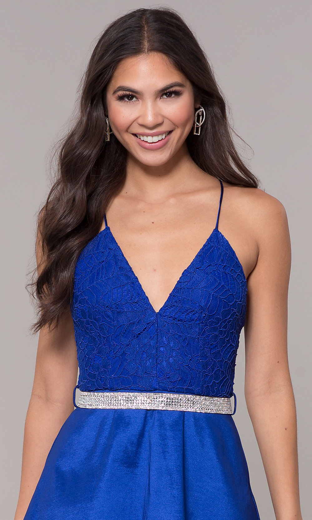 cfa45f29bb4 Image of v-neck short lace-bodice homecoming dress. Style  MCR-. Tap to  expand