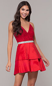 Image of v-neck short lace-bodice homecoming dress. Style: MCR-2580 Front Image
