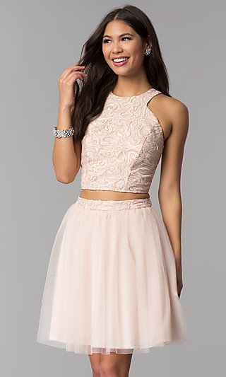 Short Sleeveless Two-Piece Homecoming Dress in Blush