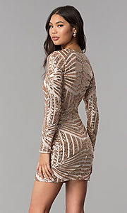 Image of short sequin long-sleeve homecoming dress. Style: MCR-1961 Back Image