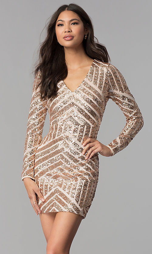 Image of short sequin long-sleeve homecoming dress. Style: MCR-1961 Front Image