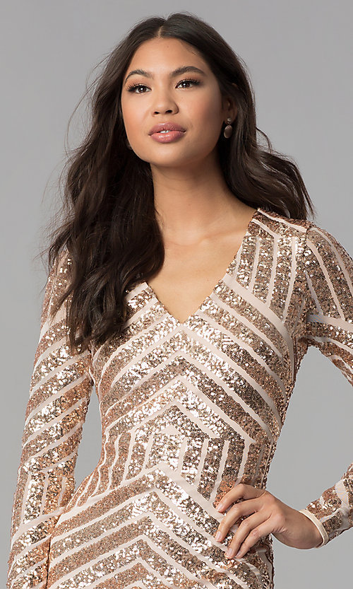 Image of short sequin long-sleeve homecoming dress. Style: MCR-1961 Detail Image 1